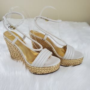 Coach Blanch Sz 8 White And Gold Wedge Heels